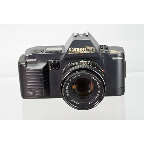 canon t70 manual focus slr with new fd 50mm f  1 8 lens